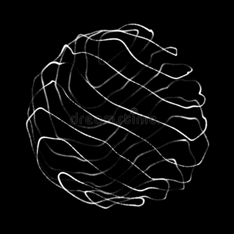 abstrakt sphere 3d Sf?r med vridninglinjer Gl?dande linjer som vrider logodesign Yttre rymdobjekt futuristic royaltyfri illustrationer
