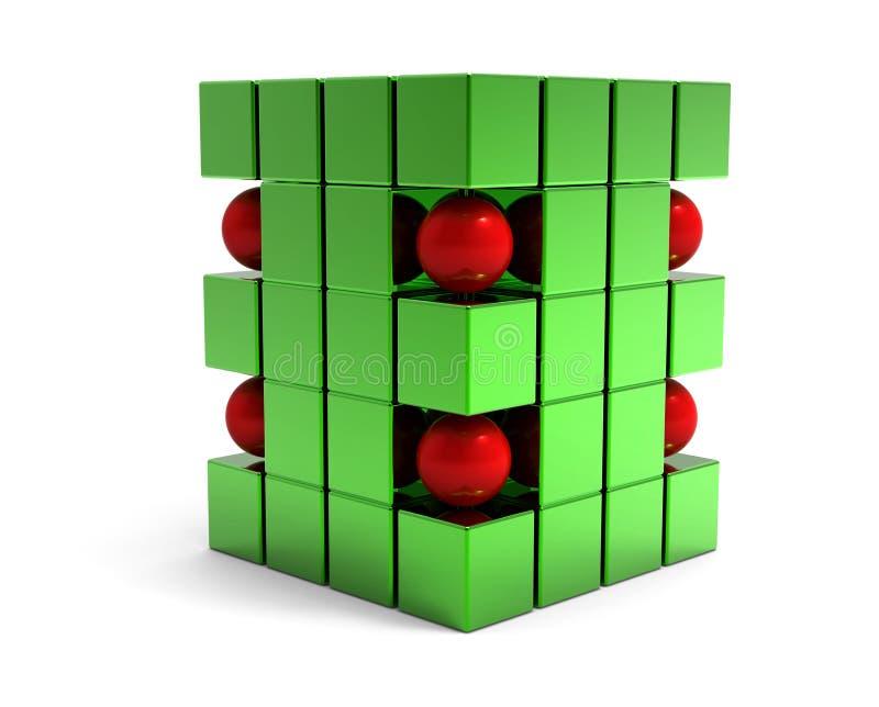 abstrakt sphere för kuber 3d royaltyfri bild