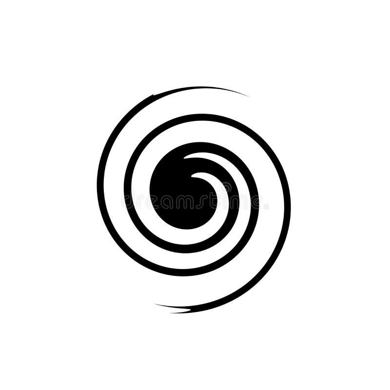 Abstrakt spiral i form av en svart cirkel på vit bakgrund vektor illustrationer