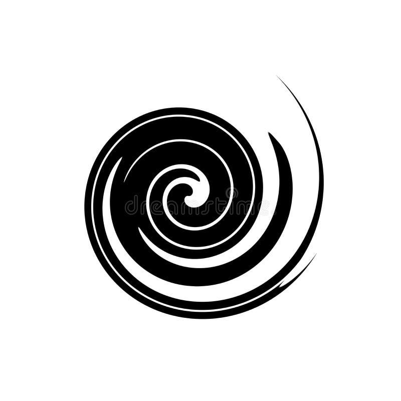 Abstrakt spiral i form av en svart cirkel på vit bakgrund royaltyfri illustrationer