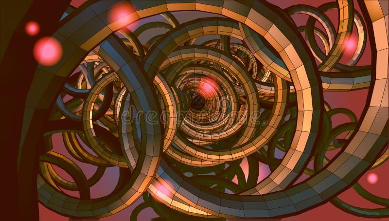 Abstrakt spiral trådbakgrund med teknologi- eller scifi-concep royaltyfri illustrationer