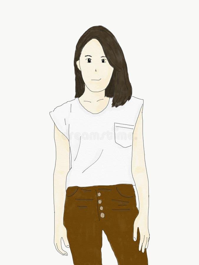 Abstrakt ställning för kvinna för handattraktionklotter och leendeframsida som isoleras på pappers- kanfas, illustration, vattenf stock illustrationer