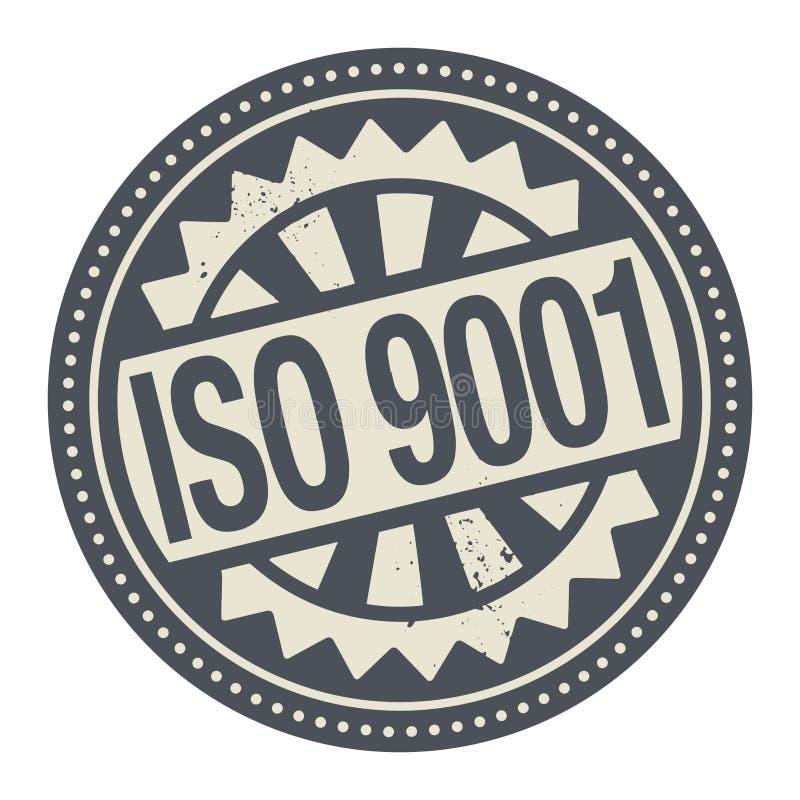 Abstrakt stämpel eller etikett med den skriftliga insidan för textISO 9001 royaltyfri illustrationer