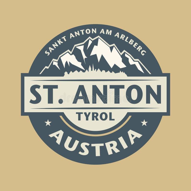 Abstrakt stämpel med namnet av stadSt Anton i Österrike stock illustrationer