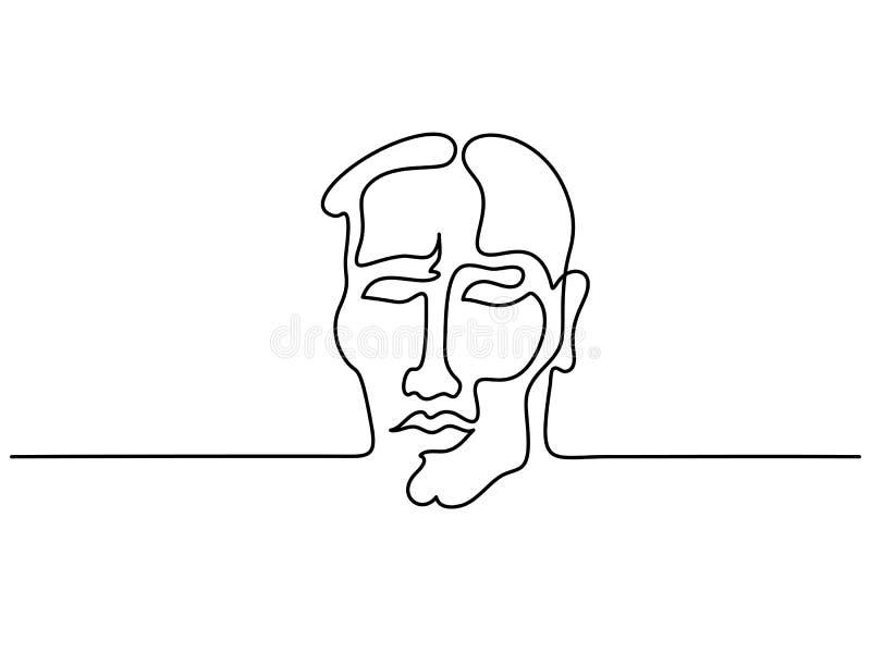 Abstrakt stående av den fortlöpande linjen för ung man royaltyfri illustrationer