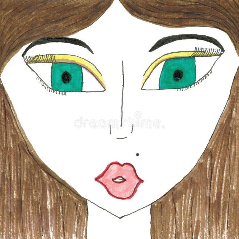 Abstrakt stående av en flickanärbild stock illustrationer
