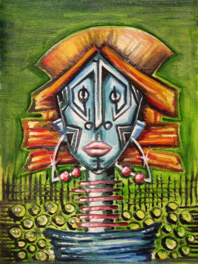 Abstrakt stående av en infödd kvinna stock illustrationer