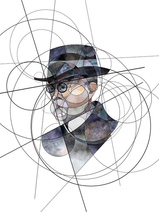 Abstrakt stående av Thomas G Masaryk första president av Tjeckoslovakien vektor illustrationer