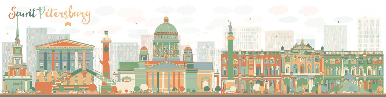 Abstrakt St Petersburg horisont med färggränsmärken royaltyfri illustrationer