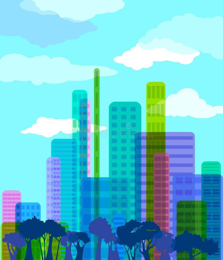 abstrakt stad stock illustrationer