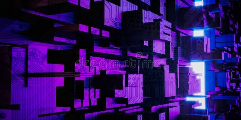Abstrakt stads- bakgrund, stora data, geometrisk struktur, cybersäkerhet, kvantdator stock illustrationer