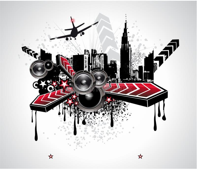abstrakt stads- bakgrundsdiskomusik royaltyfri illustrationer