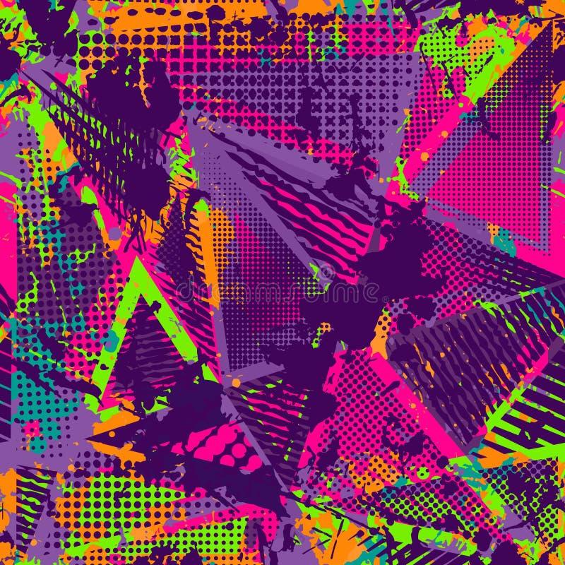 Abstrakt stads- sömlös modell Grunge texturbakgrund Hasade droppsprejer, trianglar, prickar, neonsprutmålningsfärg royaltyfri illustrationer
