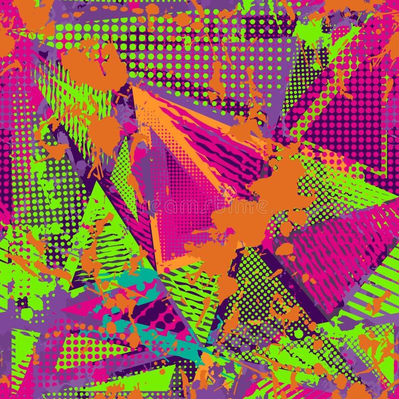 Abstrakt stads- sömlös modell Grunge texturbakgrund Hasade droppsprejer, trianglar, prickar, neonsprutmålningsfärg vektor illustrationer