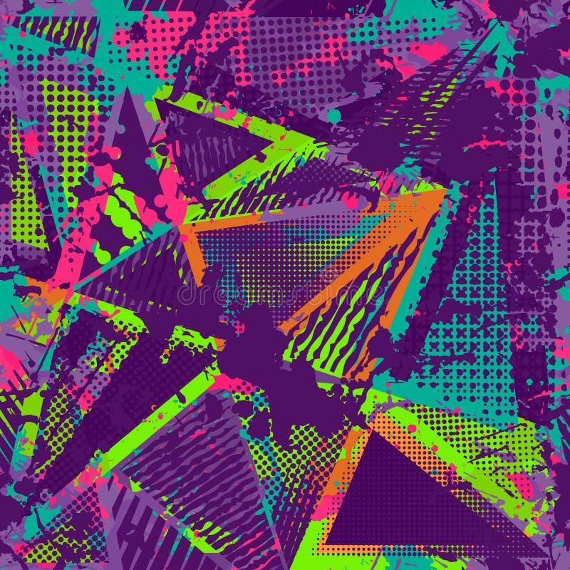 Abstrakt stads- sömlös modell Grunge texturbakgrund Hasade droppsprejer, trianglar, prickar, neonsprutmålningsfärg, färgstänk Urb royaltyfri illustrationer