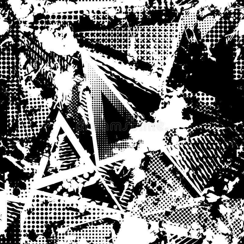 Abstrakt stads- sömlös modell Grunge texturbakgrund Hasade droppsprejer, trianglar, prickar, svartvit sprej vektor illustrationer