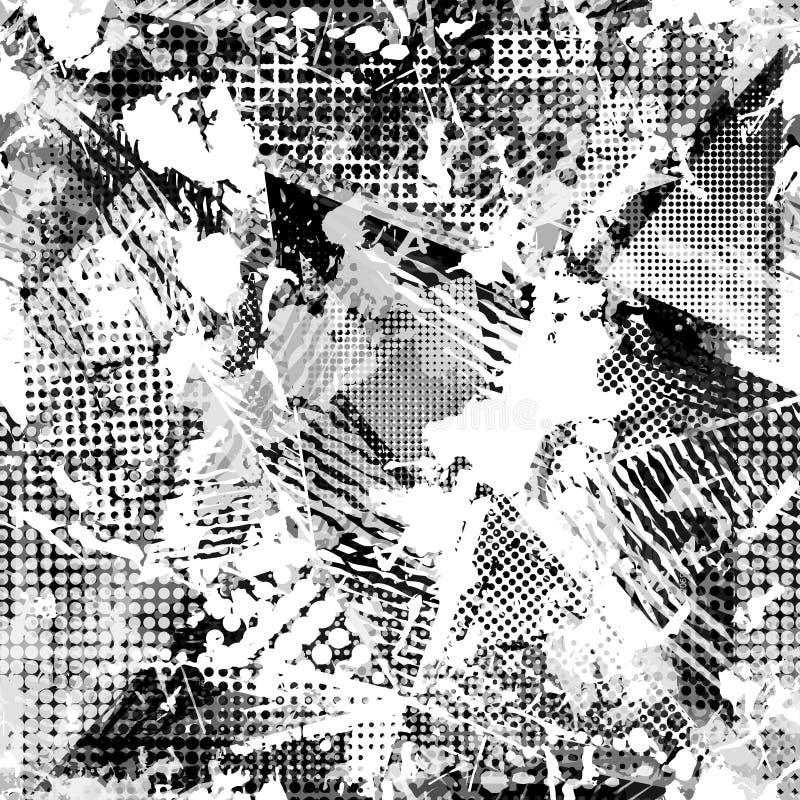 Abstrakt stads- sömlös modell Grunge texturbakgrund Hasade droppsprejer, trianglar, prickar, svartvit sprej royaltyfri illustrationer