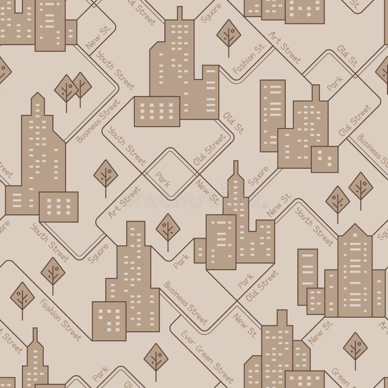 Abstrakt stads- sömlös modell Landskap med stadskvarter Det kan vara nödvändigt för kapacitet av designarbete royaltyfri illustrationer