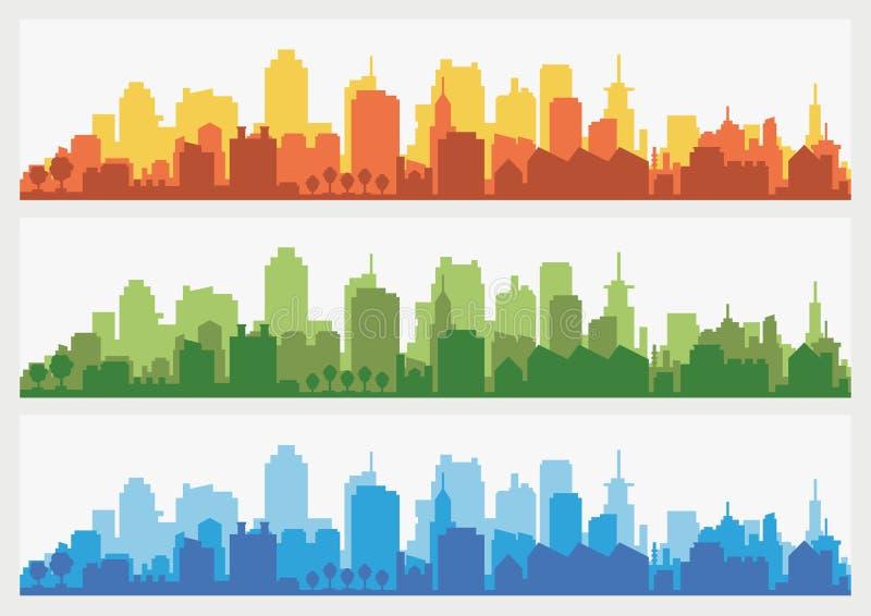 Abstrakt stadsbyggnadshorisont - horisontalrengöringsdukbanerbakgrund Silhouette av staden Byggnadskonturcityscape royaltyfri illustrationer