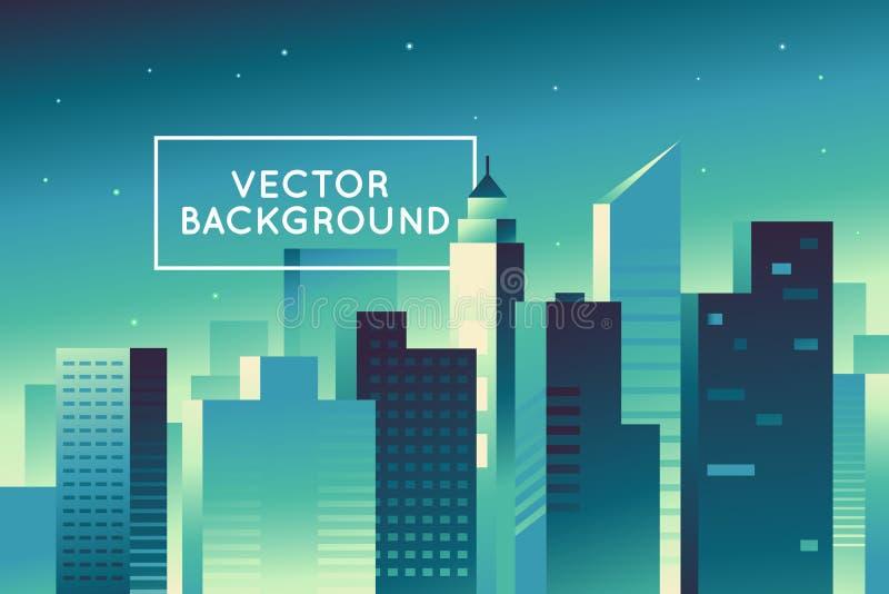 Abstrakt stadslandskap för vektor i ljusa lutningfärger - byggande stock illustrationer