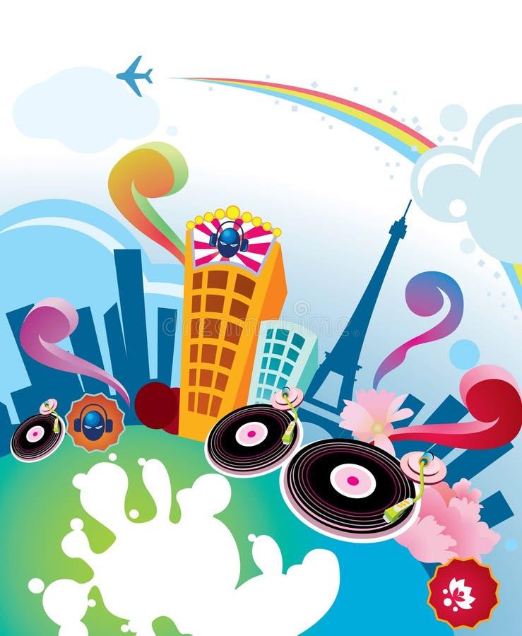 abstrakt stadsmusikal stock illustrationer