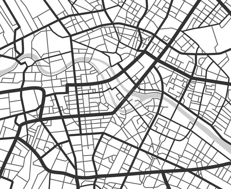 Abstrakt stadsnavigeringöversikt med linjer och gator Intrig för stads- planläggning för vektor svartvit stock illustrationer