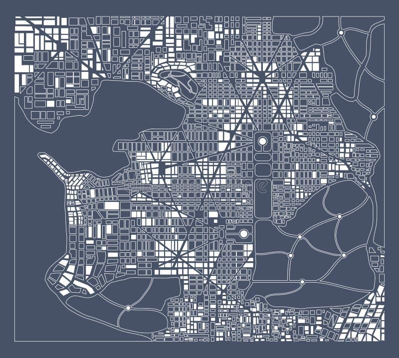 Abstrakt stadsplan royaltyfri illustrationer