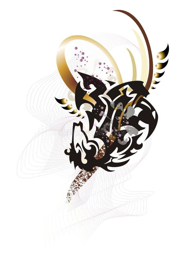 Abstrakt stam- Eagle-häst symbol royaltyfri illustrationer