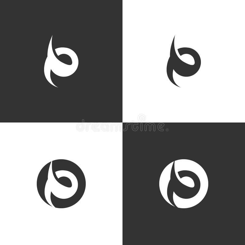 Abstrakt stam- stillogo för bokstav P vektor illustrationer