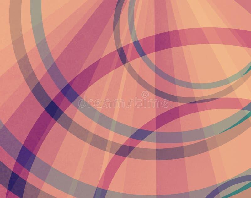 Abstrakt starburst- eller sunburstmodellbakgrund med radiella rader av band i rosa apelsin och guling och cirklar eller ringer vektor illustrationer