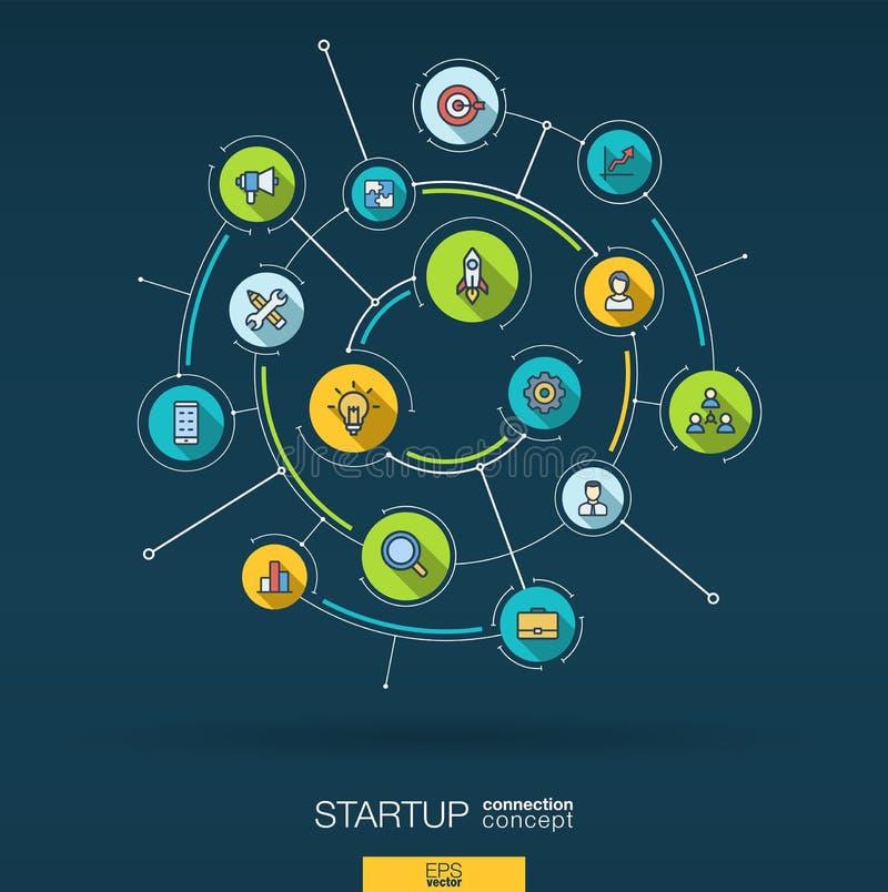 Abstrakt startup projekt, utvecklingsbakgrund Digital förbinder systemet med inbyggda cirklar, plana symboler för färg vektor illustrationer