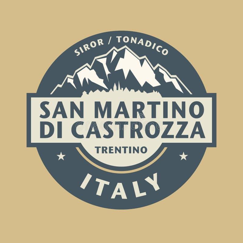 Abstrakt stemplowy San Martino Di Castrozza w Włochy ilustracja wektor