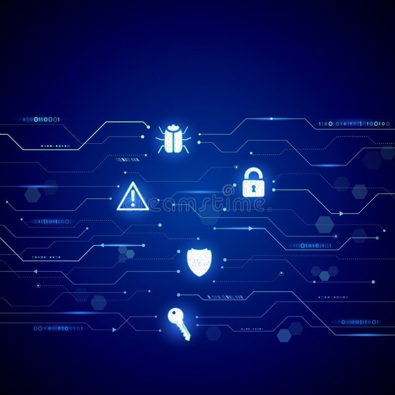 Abstrakt stil för cybersäkerhetsbegrepp Illustration för vektor för dataskydd stock illustrationer