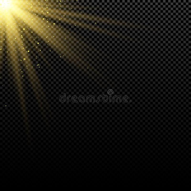 Abstrakt stilfull guld- ljus effekt på mörk bakgrund ljusa signalljus abstrakt bakgrundsguldstrålar Magisk explosion Solljus med  stock illustrationer