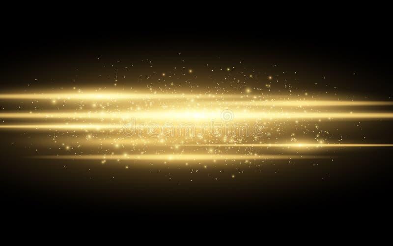 Abstrakt stilfull ljus effekt på en svart bakgrund Fodrar glödande neon för guld i rörelse Guld- lysande damm och ilskna blickar  royaltyfri illustrationer
