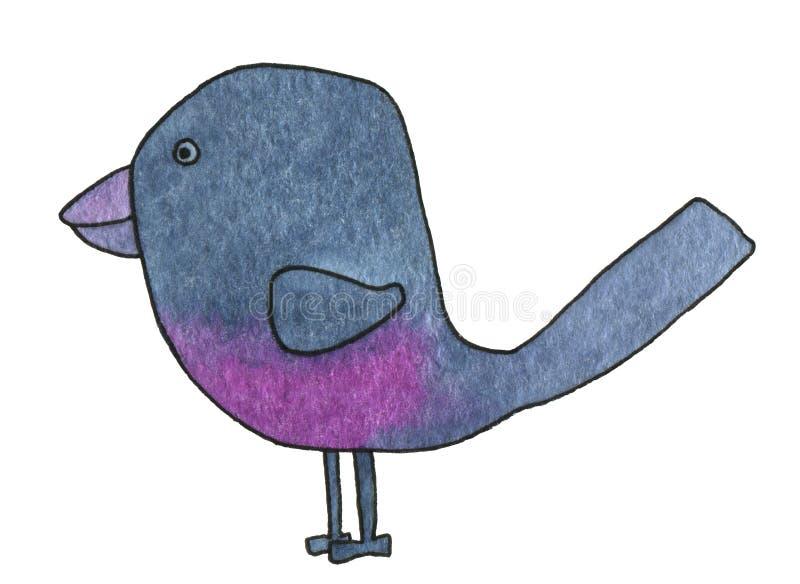 Abstrakt stiliserad indigo-färgrymd fågel med rött brösthandsritat vattenfärgsmålning på vit bakgrundsbild vektor illustrationer