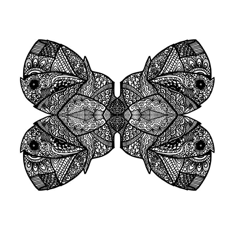 Abstrakt stiliserad symmetrisk monokrom för modell fjäril stock illustrationer