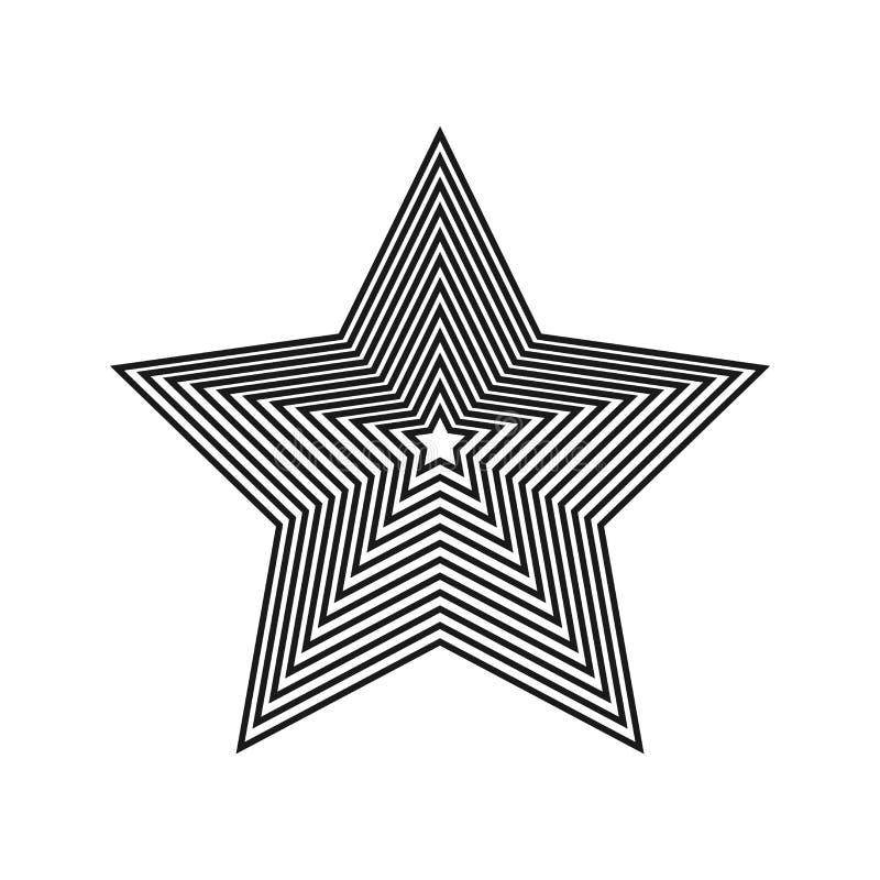 abstrakt stjärna Hypnotisk fascinerande bild också vektor för coreldrawillustration Geometrisk optisk illusion Beståndsdel för gr stock illustrationer