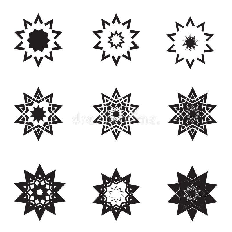 Abstrakt stjärnasymbolsset och logoer vektor illustrationer