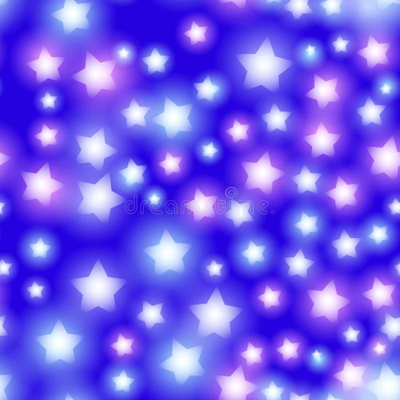 Abstrakt stjärnklar sömlös modell med neonstjärnan på ljusa rosa färger och lilan, blå bakgrund Galaxnatthimmel med stjärnor vekt vektor illustrationer