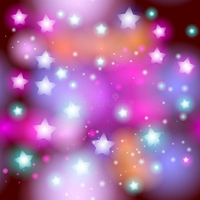 Abstrakt stjärnklar sömlös modell med neonstjärnan på ljusa rosa färger och lilor, burgundy, apelsin, grön bakgrund Wi för galaxn royaltyfri illustrationer