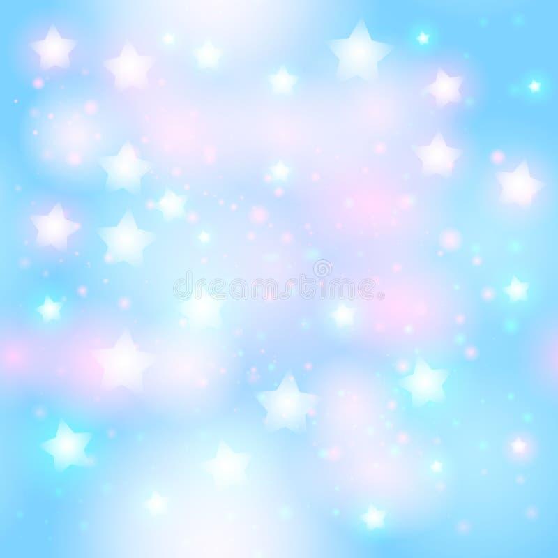 Abstrakt stjärnklar sömlös modell med neonstjärnan på ljust rosa färger och ljus - blå bakgrund vektor illustrationer