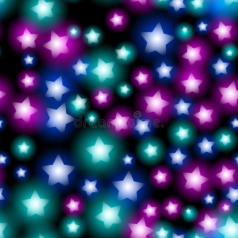 Abstrakt stjärnklar sömlös modell med neonstjärnan på svart bakgrund Galaxnatthimmel med stjärnor vektor royaltyfri illustrationer