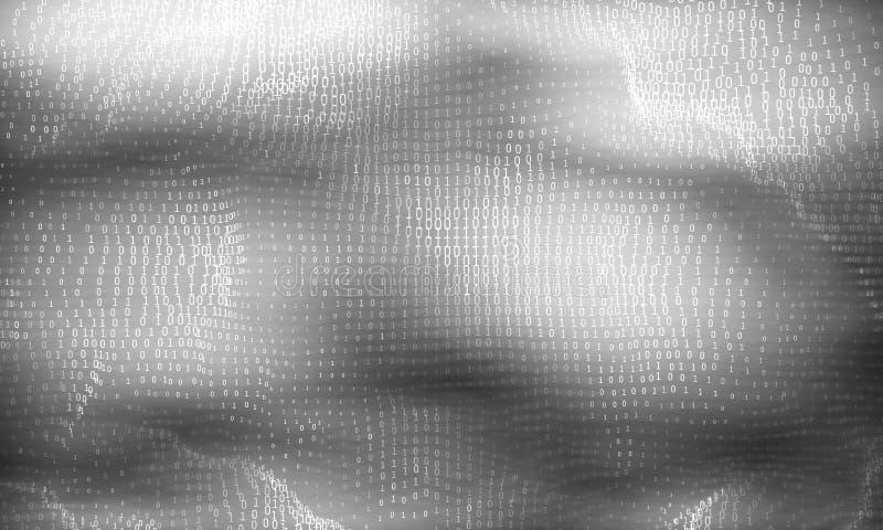 Abstrakt stor datavisualization för vektor Glödande dataflöde för gråton som binära nummer Framställning för datorkod royaltyfri illustrationer