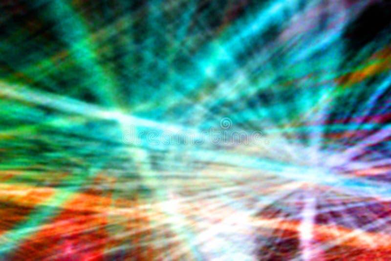Abstrakt suddig bakgrund av utbredda strålar av kulört ljus på väggen arkivfoto