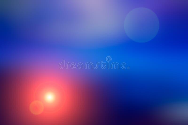 Abstrakt suddig bakgrund och ljus ljusblixt Blå och orange fläck arkivbild