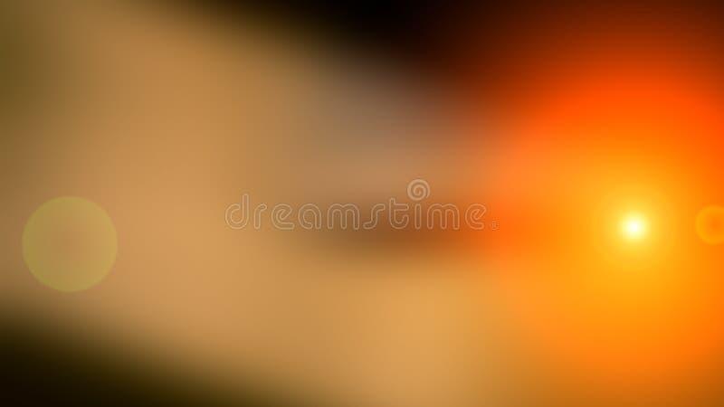 Abstrakt suddig bakgrund och ljus ljusblixt Brun och orange fläck royaltyfri fotografi