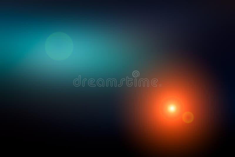 Abstrakt suddig bakgrund och ljus ljusblixt Mörkt - blå, svart och purpurfärgad orange fläck royaltyfri bild