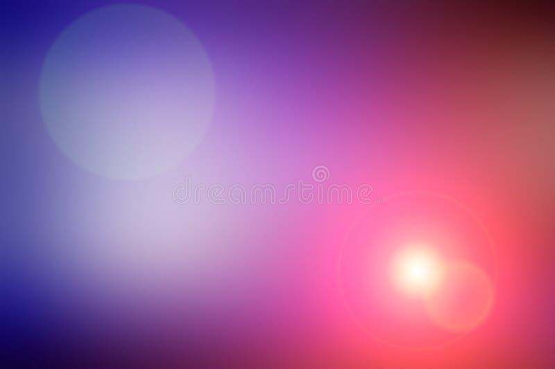 Abstrakt suddig bakgrund och ljus ljusblixt Purpurfärgad, rosa och orange fläck royaltyfri illustrationer