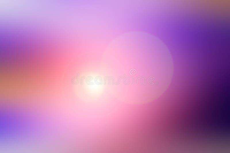 Abstrakt suddig bakgrund och ljus ljusblixt Purpurfärgad, rosa och orange fläck royaltyfri foto